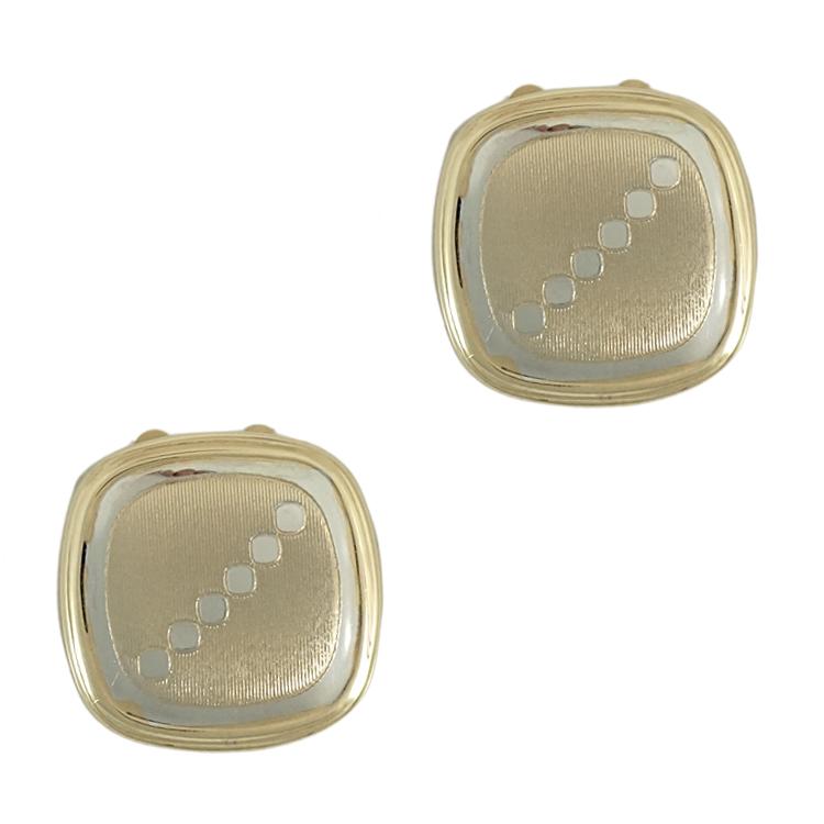 Κίτρινα Χρυσά Μανικετόκουμπα Καπάκια με Λευκόχρυσες Λεπτομέρειες Κ14 MANK144