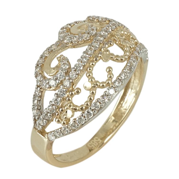 Δίχρωμο Χρυσό Δαχτυλίδι Κ14 DX376