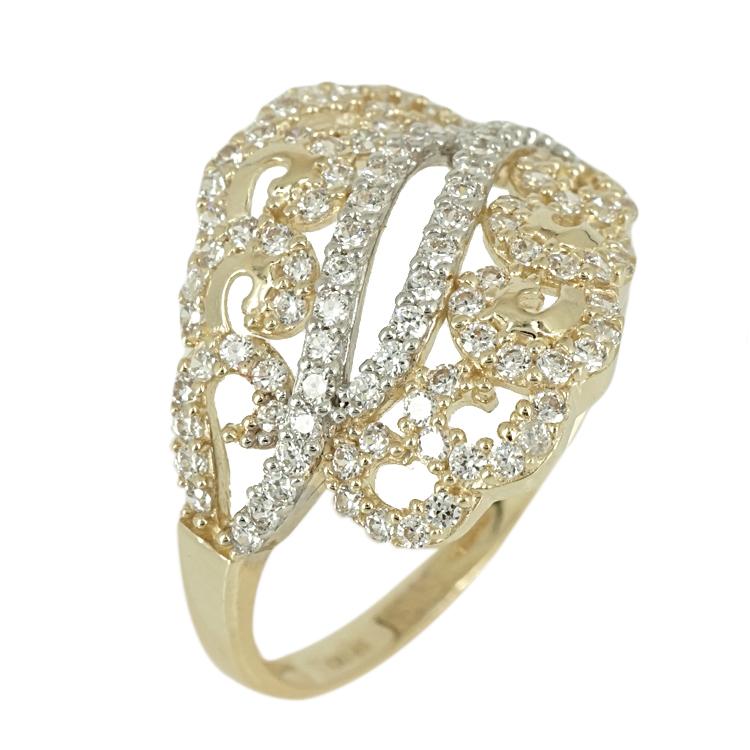Δίχρωμο Χρυσό Δαχτυλίδι Κ14 DX378