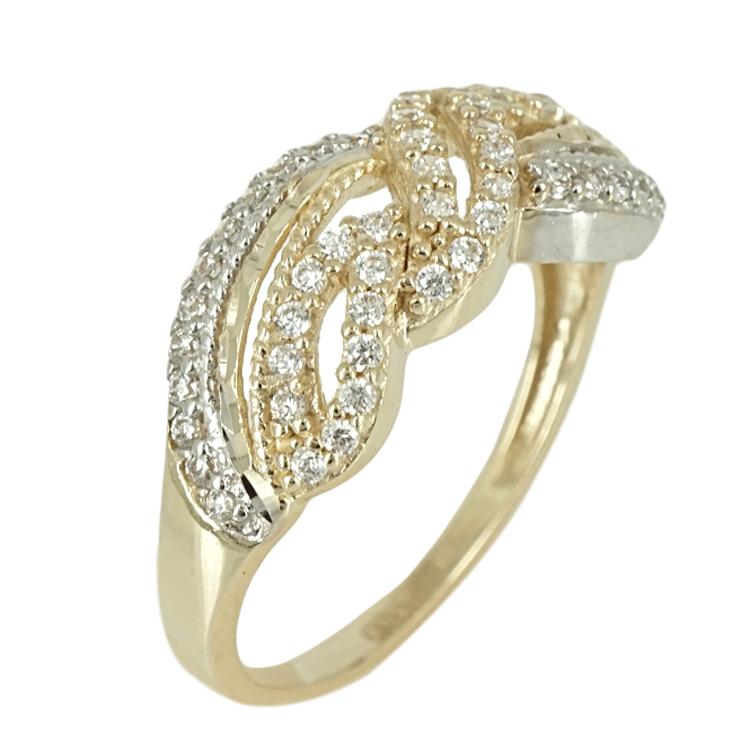 Δίχρωμο Χρυσό Δαχτυλίδι Κ14 DX379