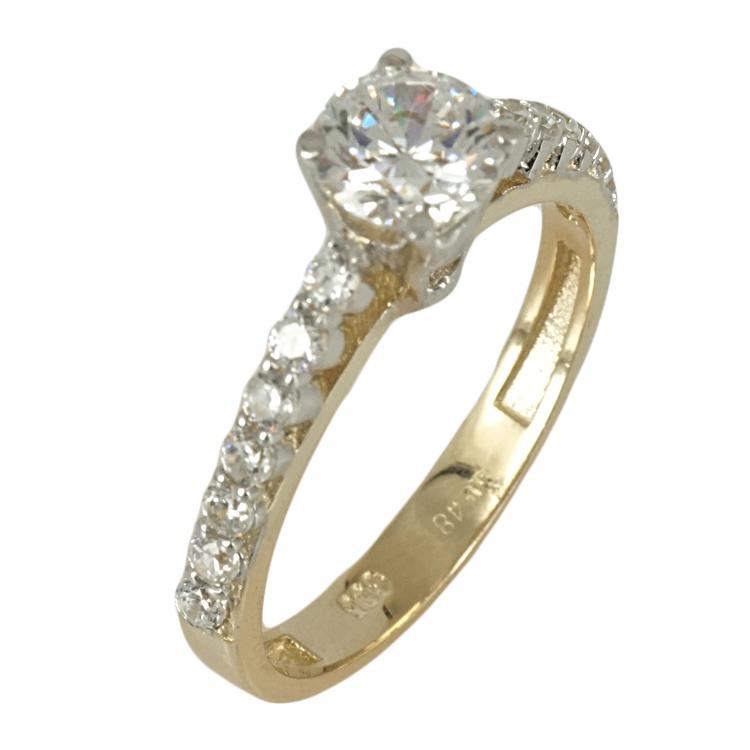 Κίτρινο Χρυσό Δαχτυλίδι Μονόπετρο Κ14 DX384