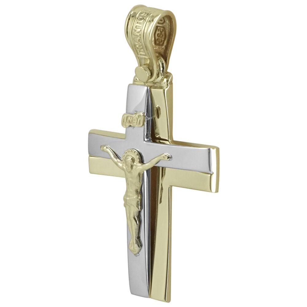 Σταυρός Βάπτισης Κ14 Δίχρωμος Χρυσός Ανδρικός ΤΡΙΑΝΤΟΣ ST1928