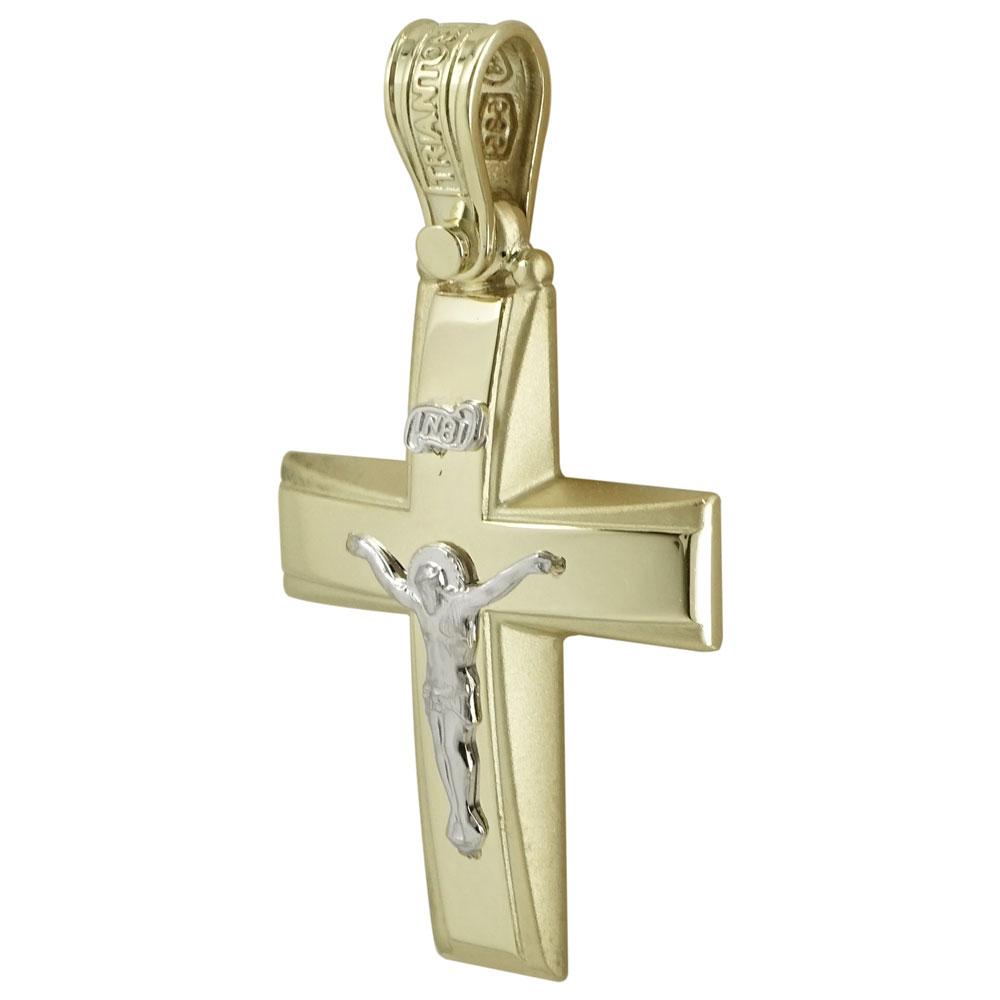 Σταυρός Βάπτισης Κ14 Δίχρωμος Χρυσός Ανδρικός ΤΡΙΑΝΤΟΣ ST1931