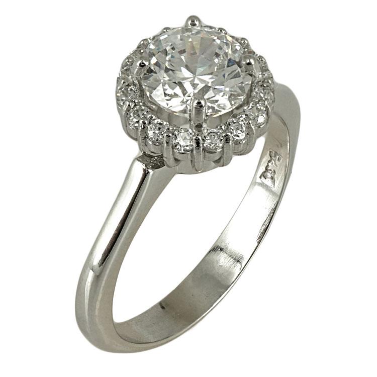 Λευκόχρυσο Δαχτυλίδι Μονόπετρο Κ14 DX417