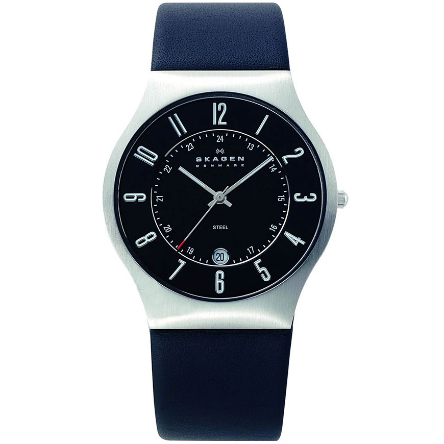 SKAGEN Mens Steel Black Leather Strap 233XXLSLB