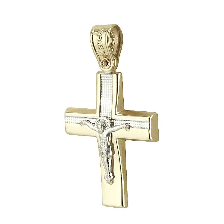 Σταυρός Βάπτισης Κ14 Δίχρωμος Χρυσός Ανδρικός ST1858