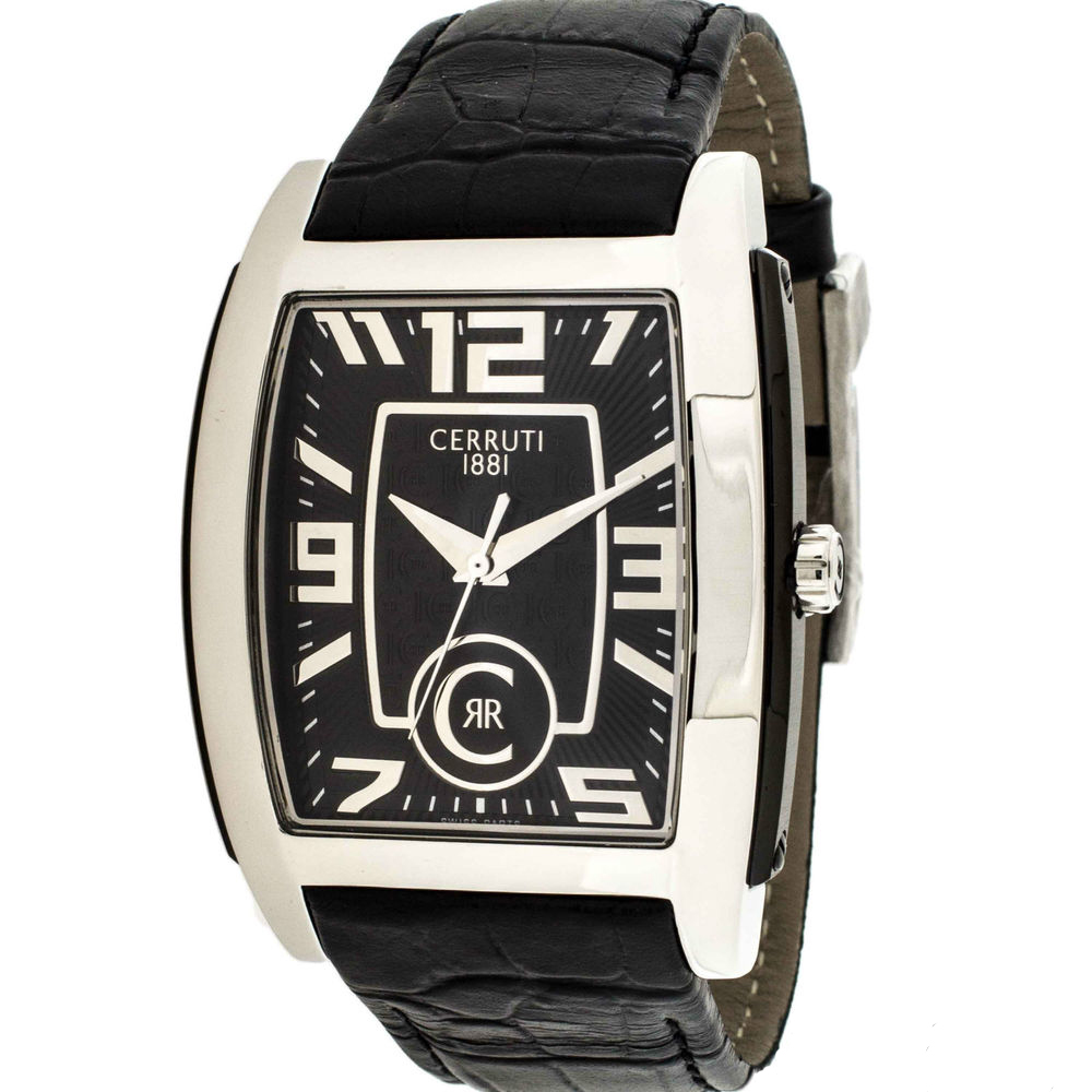 CERRUTI Black Leather Strap CRD003A222B
