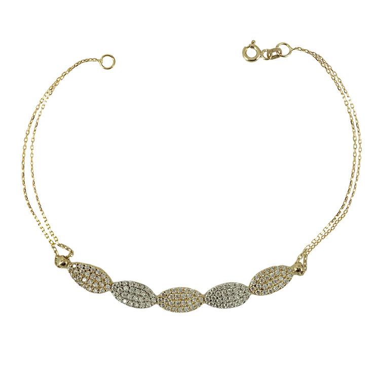 Κίτρινο Χρυσό Βραχιόλι με Signity Stones Κ14 VR237