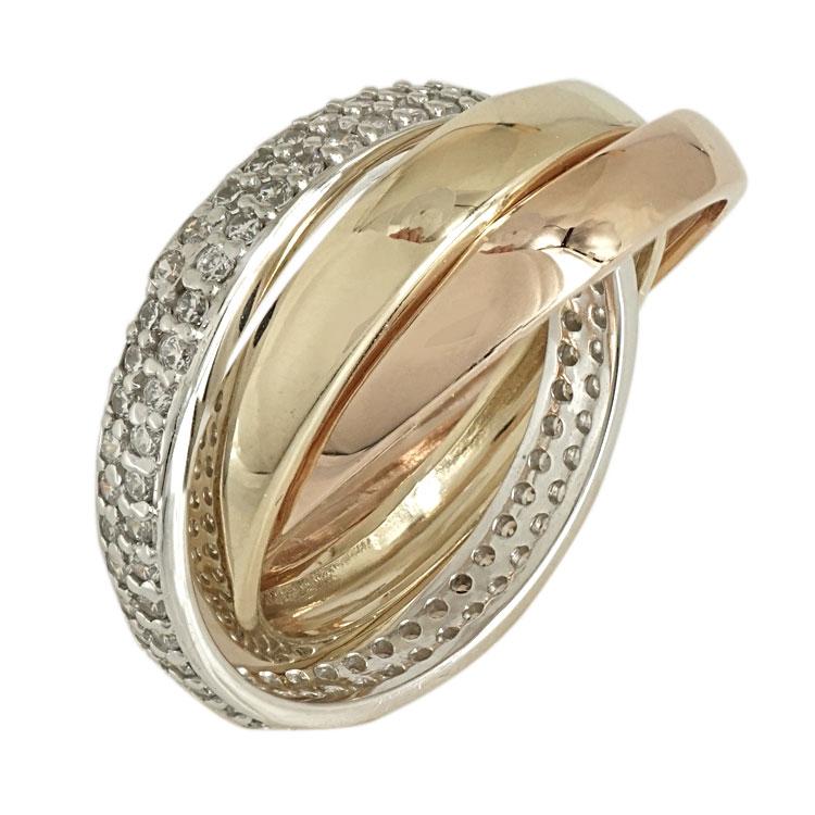 Τρίχρωμο Χρυσό Δαχτυλίδι Κ14 DX467