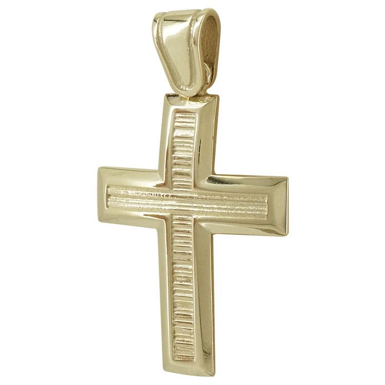 Σταυρός Βάπτισης Κ14 Κίτρινος Χρυσός Ανδρικός ST1873