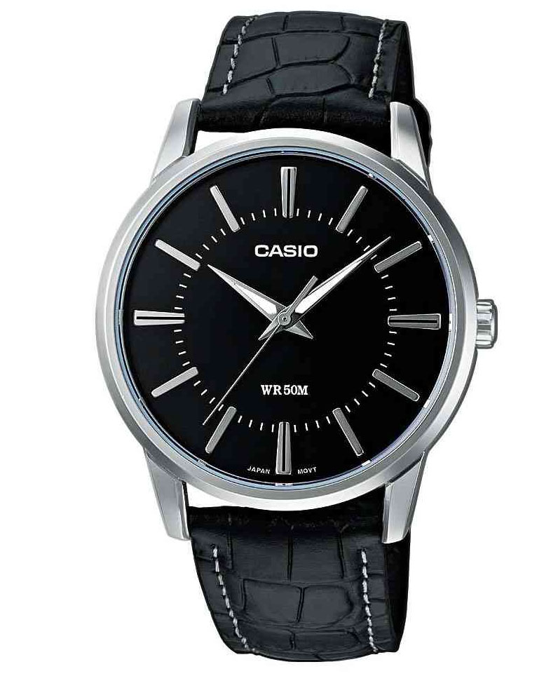 CASIO Collection Black Leather Strap MTP-1303PL-1AVEF