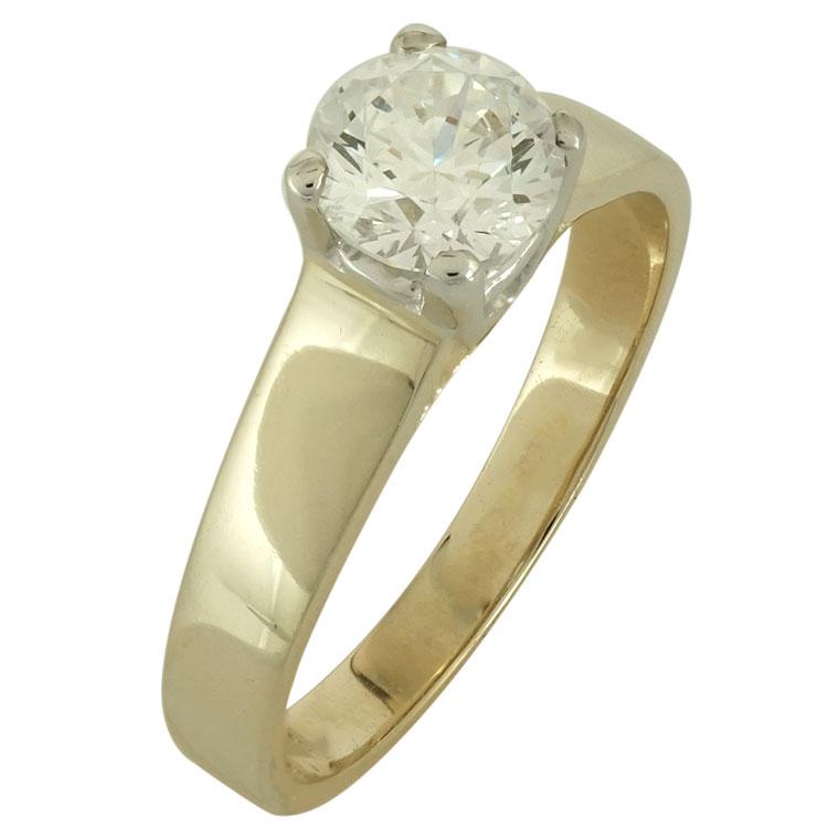 Δίχρωμο Χρυσό Μονόπετρο Δαχτυλίδι Κ14 DX487