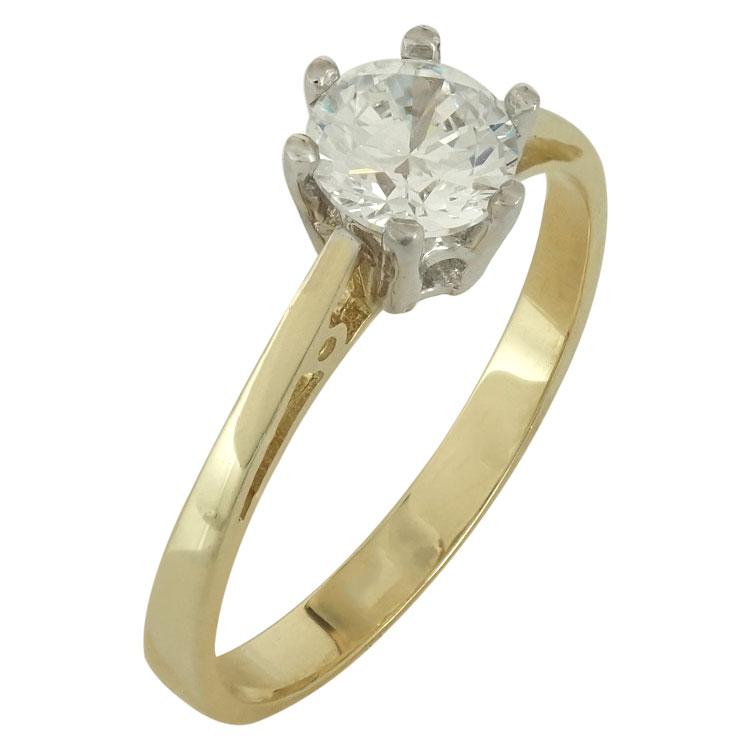 Δίχρωμο Χρυσό Μονόπετρο Δαχτυλίδι Κ14 DX489