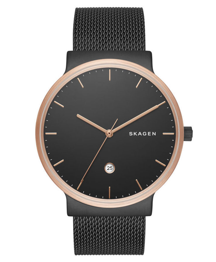 SKAGEN Ancher Black Stainless Steel Mesh Bracelet Men's Watch SKW6296