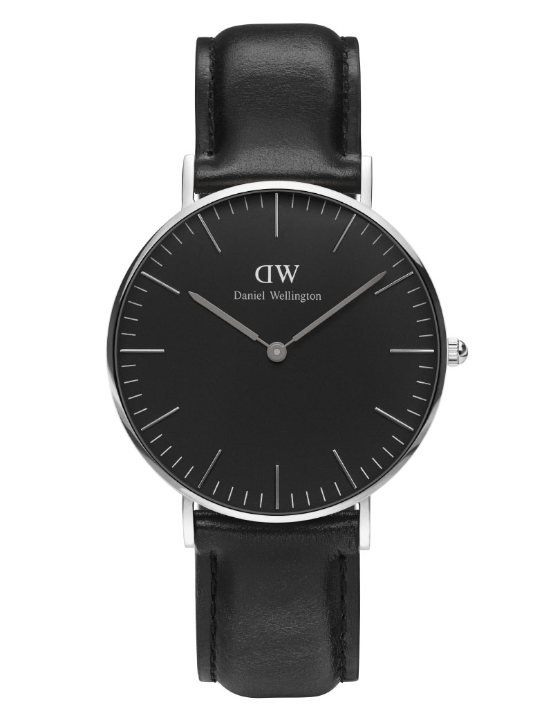 DANIEL WELLINGTON Classic Black Sheffield Black Leather Strap DW00100145