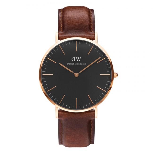 DANIEL WELLINGTON Classic Rose Gold Black St Mawes Brown Leather Strap DW00100124
