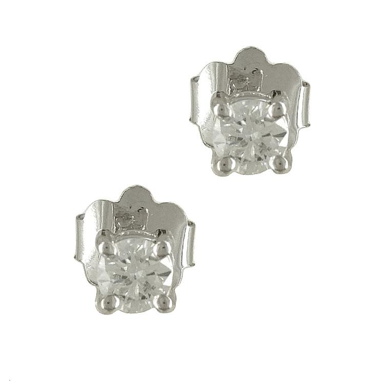 Λευκόχρυσα Μονόπετρα Σκουλαρίκια με Διαμάντια Brilliant Κ18 E5324