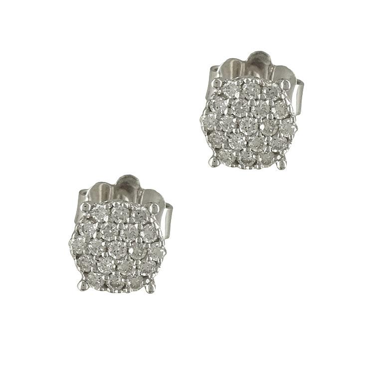 Λευκόχρυσα Σκουλαρίκια με Διαμάντια Brilliant Κ18 E5777