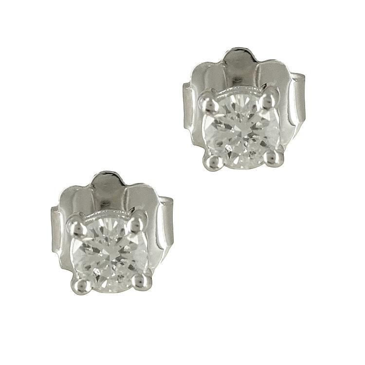 Λευκόχρυσα Μονόπετρα Σκουλαρίκια με Διαμάντια Brilliant Κ18 E6066 ... 9c9aa60dfb8