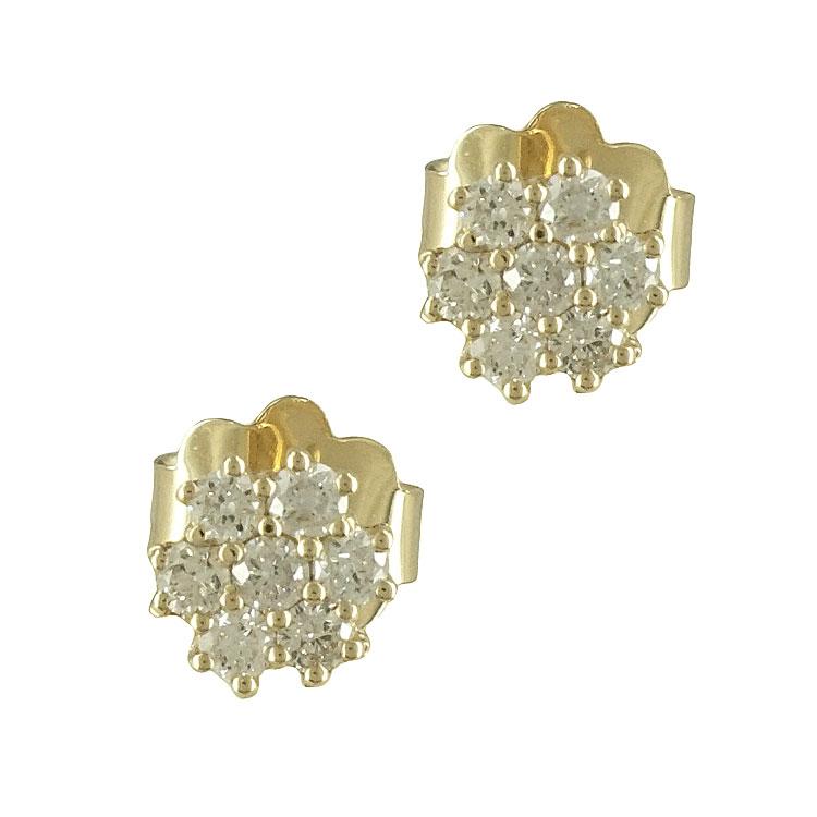 Σκουλαρίκια με Διαμάντια Brilliant Από Κίτρινο Χρυσό Κ18 E6374