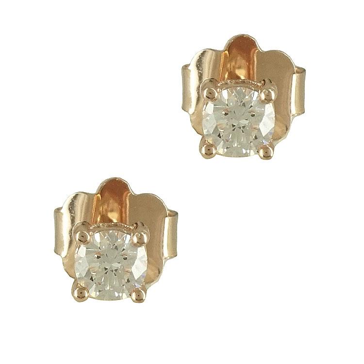 Σκουλαρίκια με Διαμάντια Brilliant Από Ροζ Χρυσό Κ18 E6376
