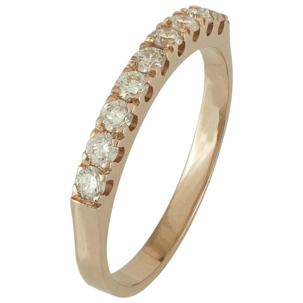 Ροζ Χρυσό Σειρέ Δαχτυλίδι Κ18 με Διαμάντια Brilliant R16604