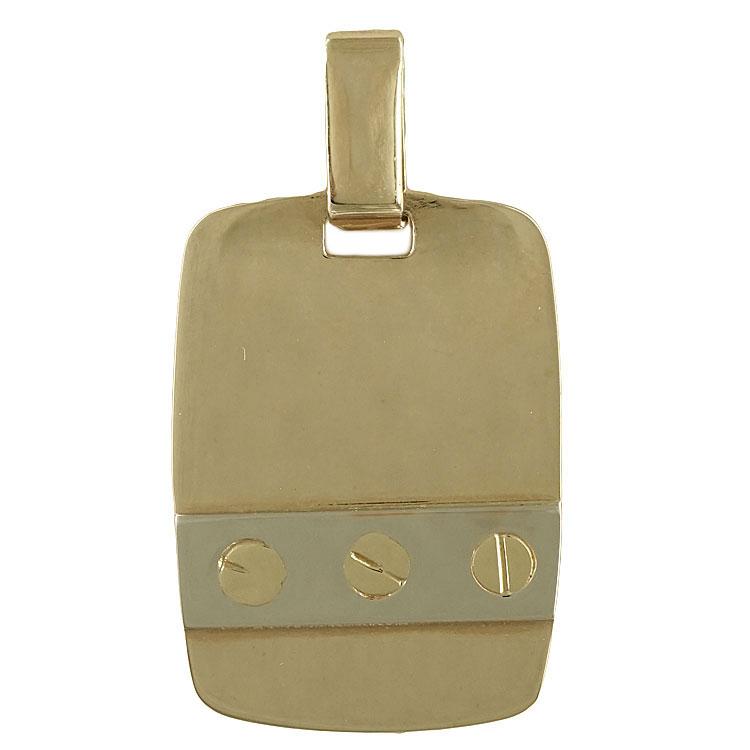 Κίτρινη Χρυσή Ταυτότητα Μενταγιόν Κ14 TM103