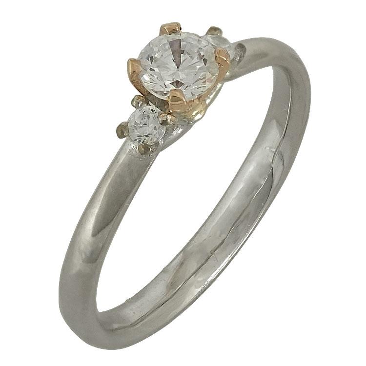 Δίχρωμο Χρυσό Μονόπετρο Δαχτυλίδι Κ14 DX499