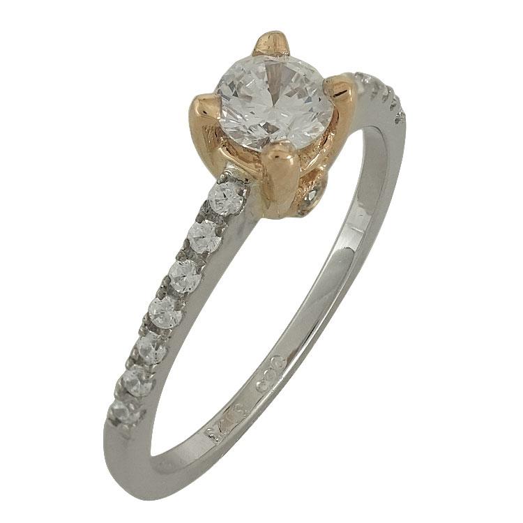 Δίχρωμο Χρυσό Μονόπετρο Δαχτυλίδι Κ14 DX500