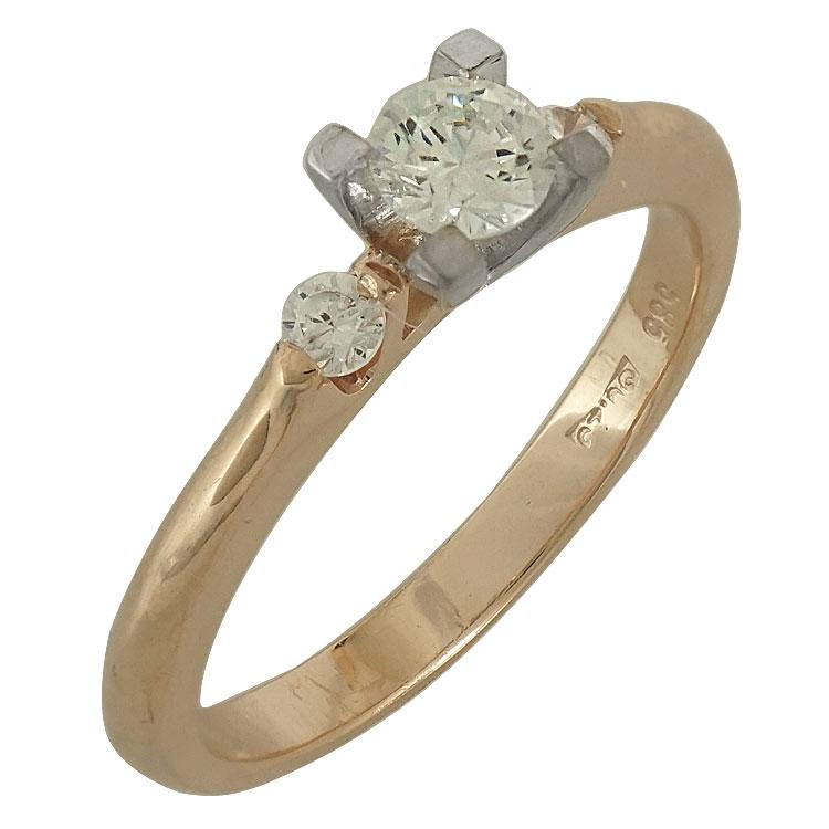 Δίχρωμο Χρυσό Μονόπετρο Δαχτυλίδι Κ14 DX501