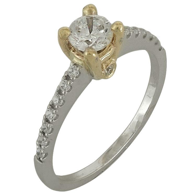 Δίχρωμο Χρυσό Μονόπετρο Δαχτυλίδι Κ14 DX502