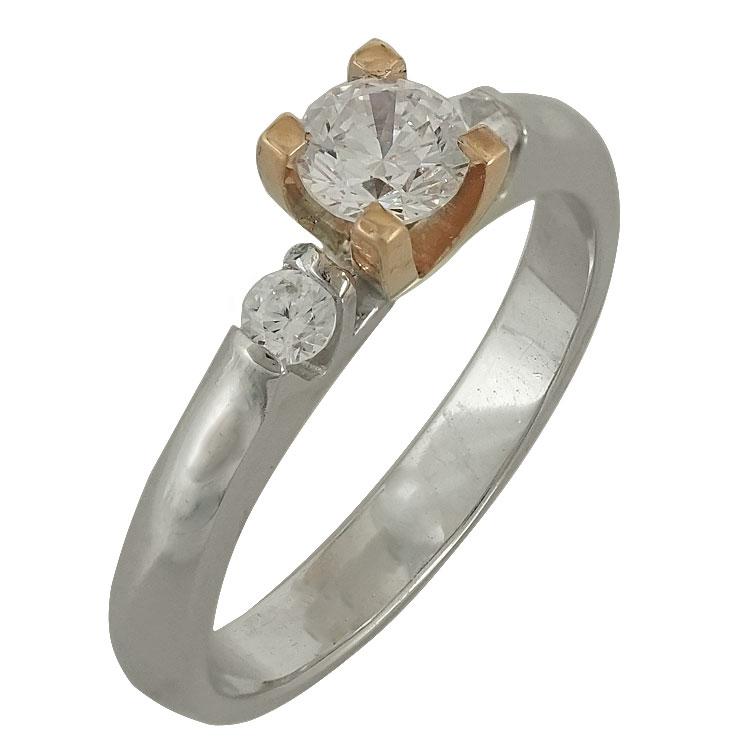 Δίχρωμο Χρυσό Μονόπετρο Δαχτυλίδι Κ14 DX503