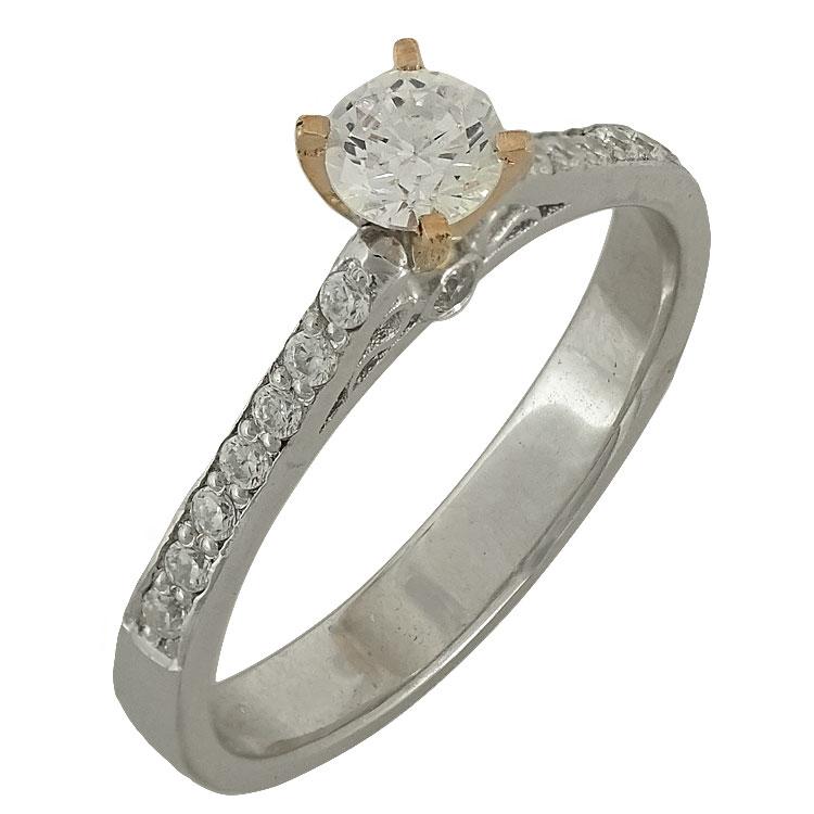 Δίχρωμο Χρυσό Μονόπετρο Δαχτυλίδι Κ14 DX504
