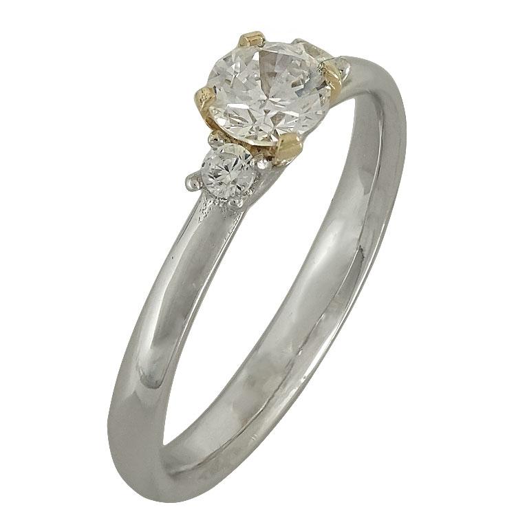Δίχρωμο Χρυσό Μονόπετρο Δαχτυλίδι Κ14 DX505