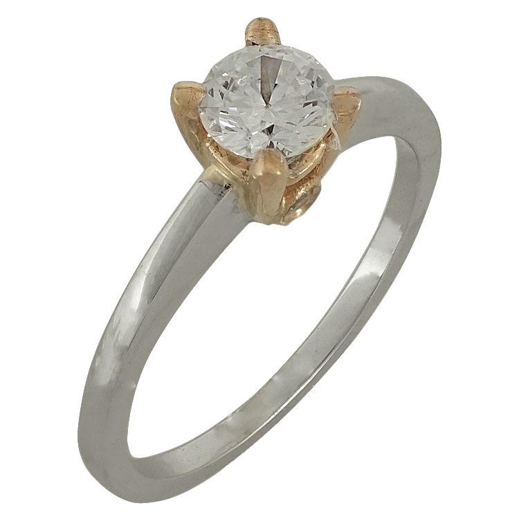 Δίχρωμο Χρυσό Μονόπετρο Δαχτυλίδι Κ14 DX507