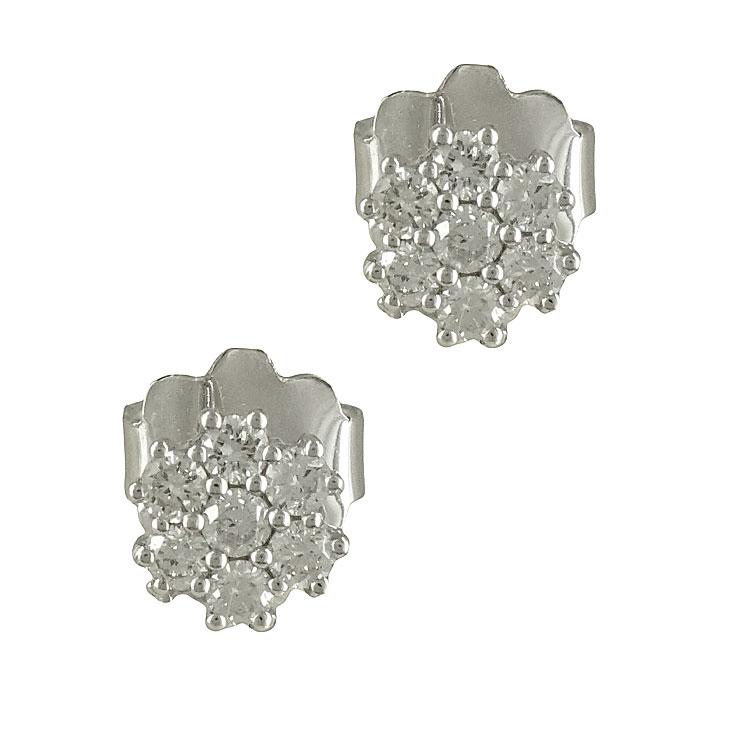 Λευκόχρυσα Σκουλαρίκια με Διαμάντια Brilliant Κ18 E6372  0d1f16578ec