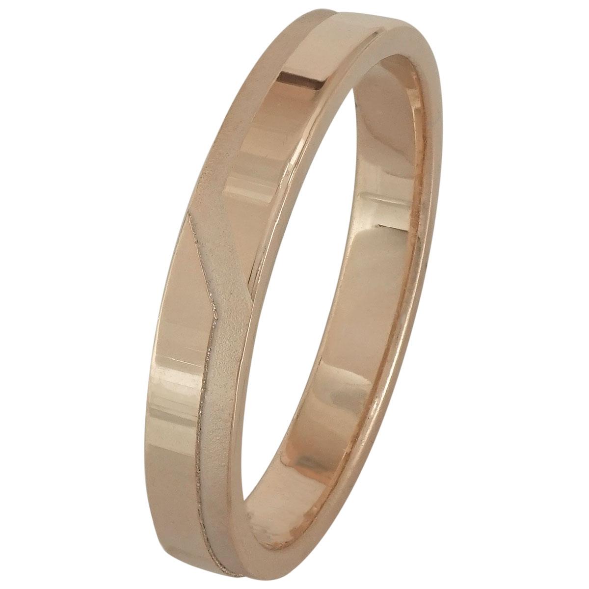 Ροζ Χρυσή Βέρα Γάμου WR196R k18