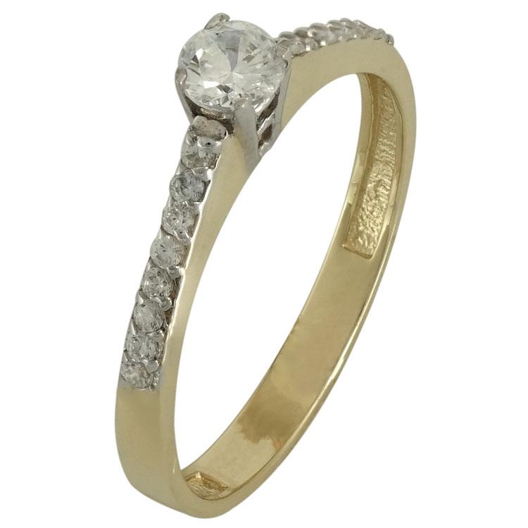 Κίτρινο Χρυσό Μονόπετρο Δαχτυλίδι Κ14 DX509