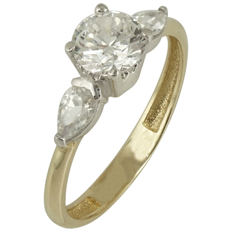 Κίτρινο Χρυσό Μονόπετρο Δαχτυλίδι Κ14 DX515