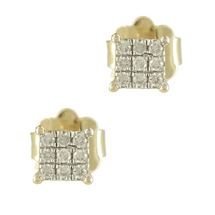 Κίτρινα Χρυσά Σκουλαρίκια με Διαμάντια Brilliant Κ18 E6048