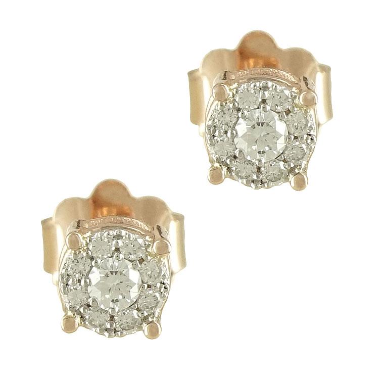 Ροζ Χρυσά Σκουλαρίκια με Διαμάντια Brilliant Κ18 E6399