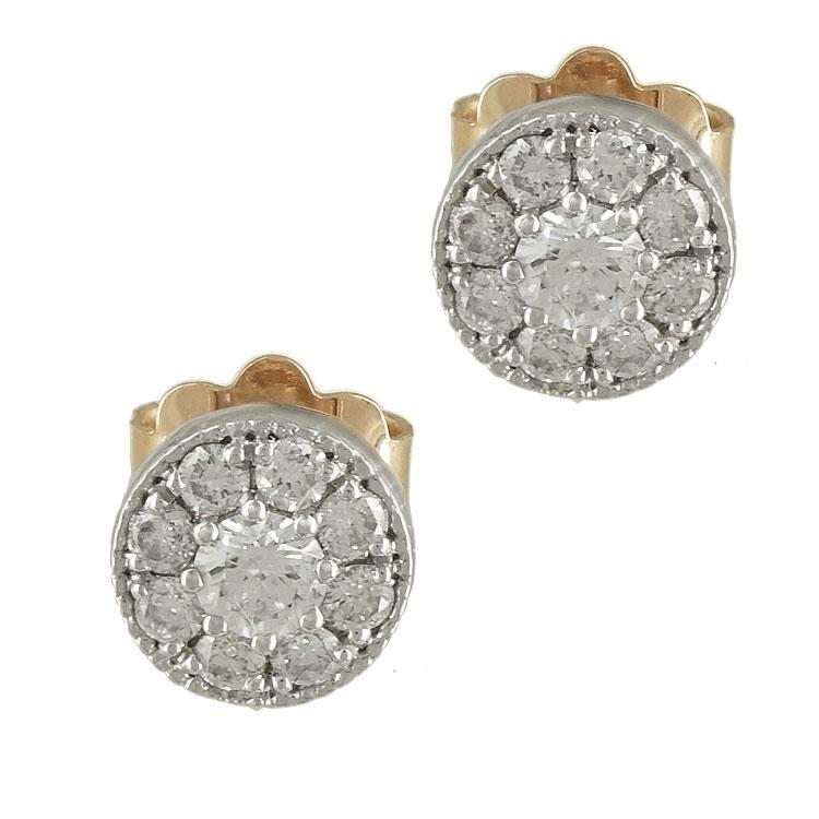 Δίχρωμα Χρυσά Σκουλαρίκια με Διαμάντια Brilliant Κ18 E6560