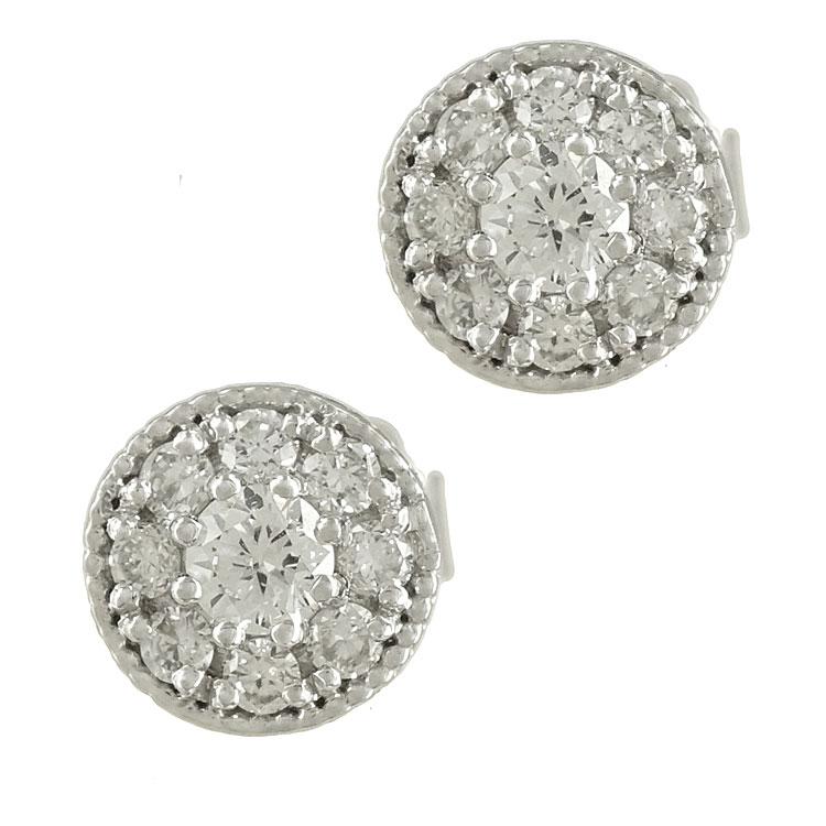 Λευκόχρυσα Σκουλαρίκια με Διαμάντια Brilliant Κ18 E6611