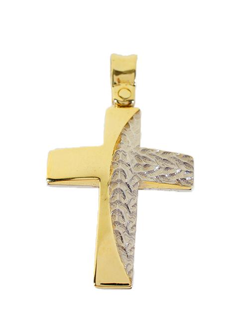 Σταυρός Βάπτισης 14Κ Δίχρωμος Χρυσός Ανδρικός ST535