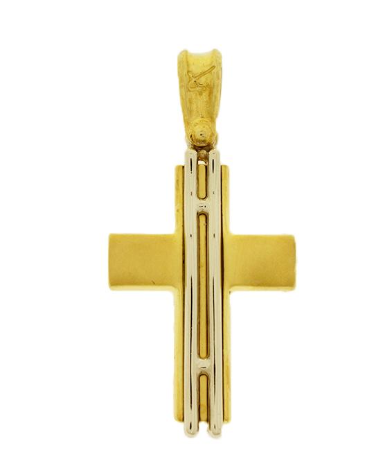 Σταυρός Βάπτισης 14Κ Δίχρωμος Χρυσός Ανδρικός ST539
