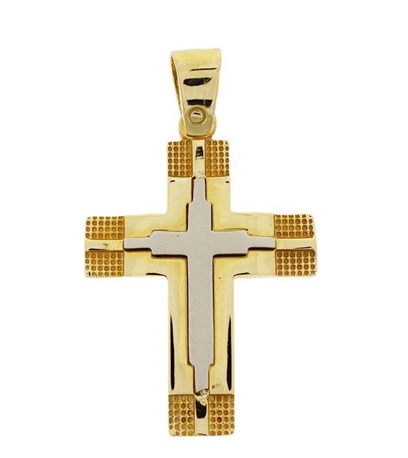 Σταυρός Βάπτισης 14Κ Δίχρωμος Χρυσός Ανδρικός ST613