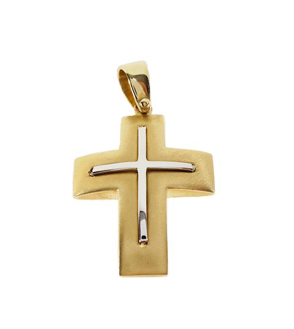 Σταυρός Βάπτισης 14Κ Δίχρωμος Χρυσό Ανδρικός ST637