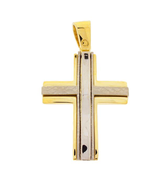 Σταυρός Βάπτισης 14Κ Δίχρωμος Χρυσός Ανδρικός ST720