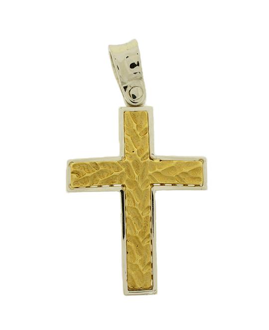 Σταυρός Βάπτισης 14Κ Δίχρωμος Χρυσός Ανδρικός ST551