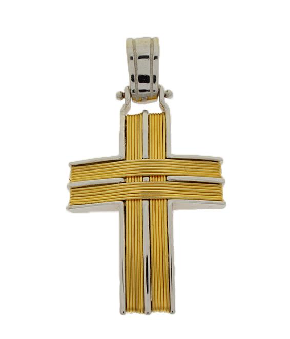 Σταυρός Βάπτισης 14Κ Δίχρωμος Χρυσός Ανδρικός ST653